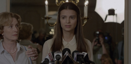 216_03_A – Andie (Emily Ratajkowski) makes a statement about her ex-lover, Nick Dunne, who's under investigation regarding the disappearance of his wife.